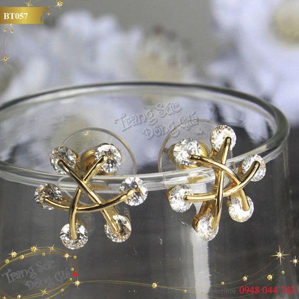 Bông tai Korea hoa đính đá xinh xắn.